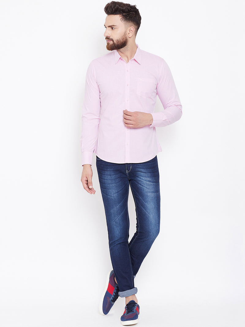 JUMP USA Men Pink Solid Slim Fit Casual Shirts