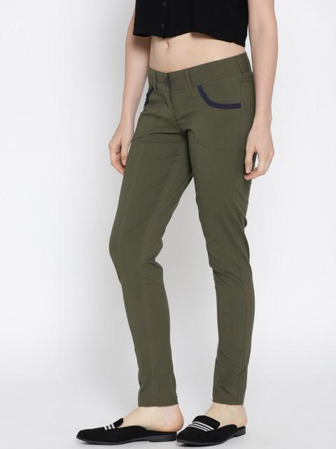 Women Solid Slim Fit Trousers - JUMP USA