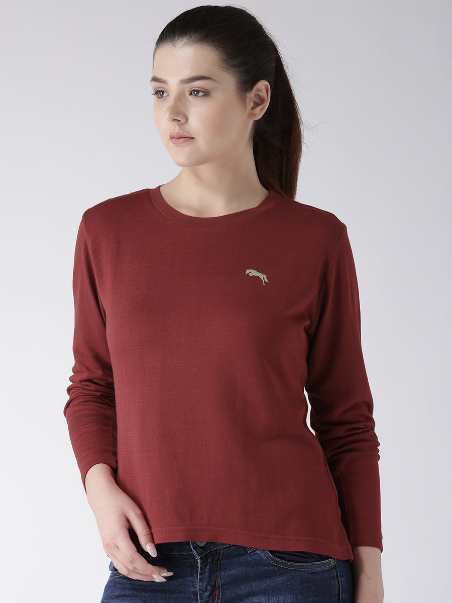 Women Red Solid Round Neck T-shirt