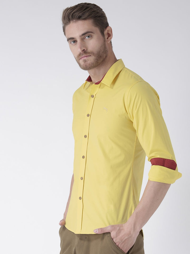 Men Yellow Solid Cotton Regular Fit Shirt - JUMP USA