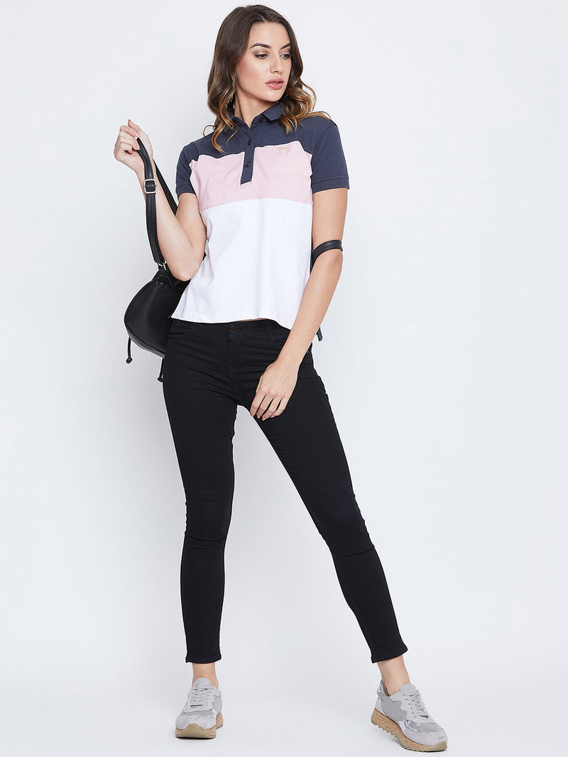 JUMP USA Women Navy Blue And Pink Colour blocked PoloT-Shirts