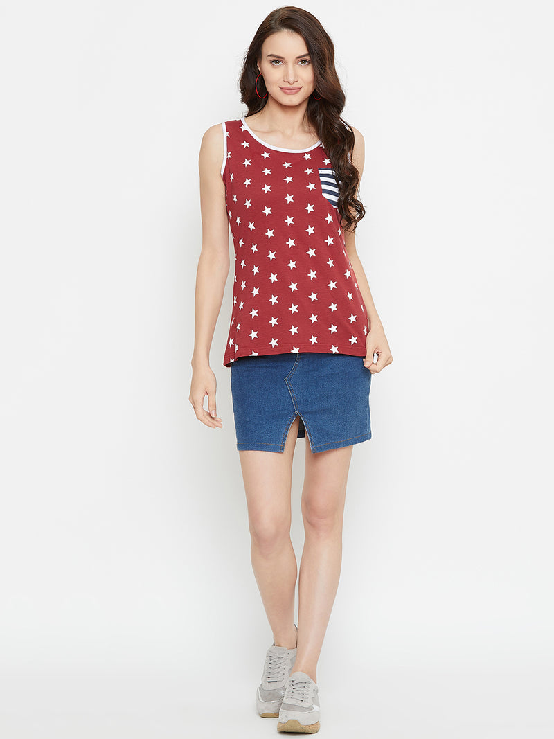 Women Red Printed Casual Printed Top
