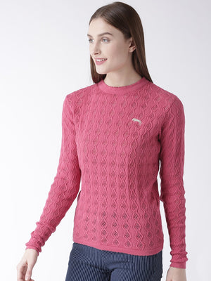 Women Cotton Casual Long Sleeve  Pink Winter Sweaters