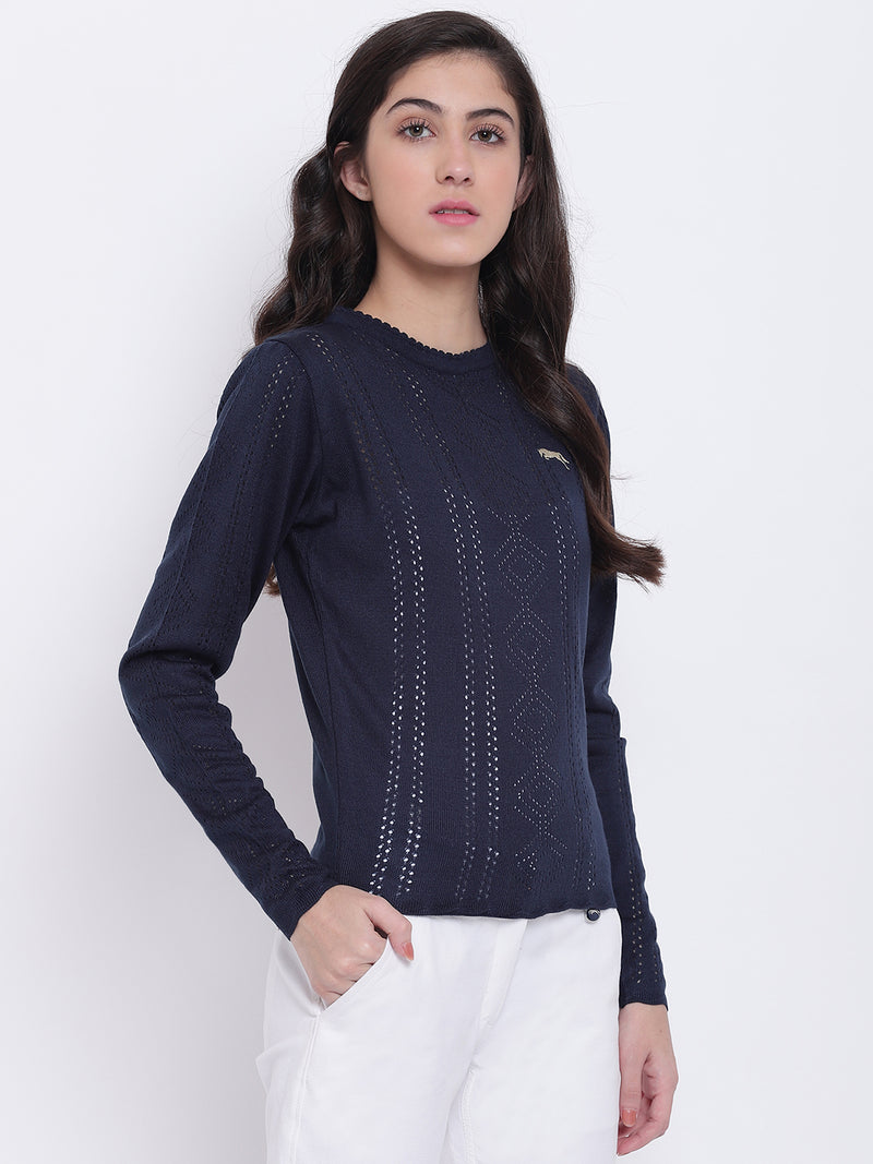 Women Navy Blue Casual Sweaters