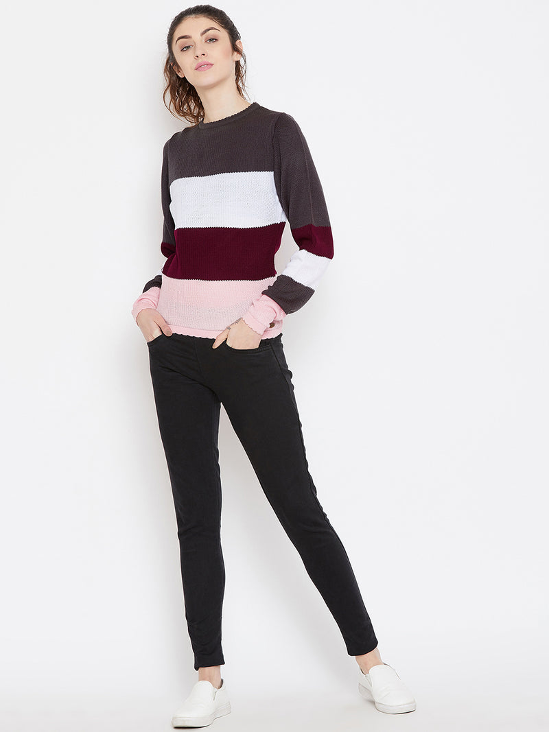 Womens Striped Charcoal/Pink Sweaters