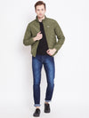 Mens Solid Military Olive Quilted Jacket - JUMP USA