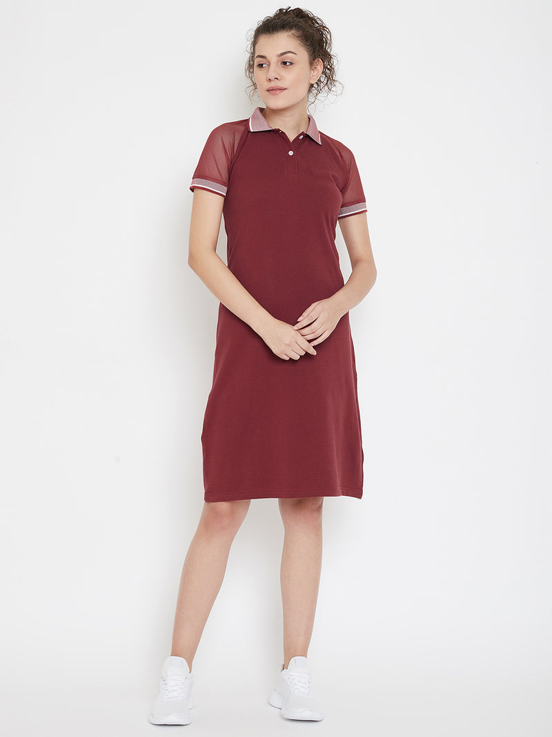 JUMP USA Women Solid Maroon T-shirt Dress