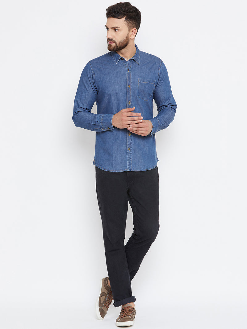 Men Dark Blue Washed Regular Fit Casual Shirt