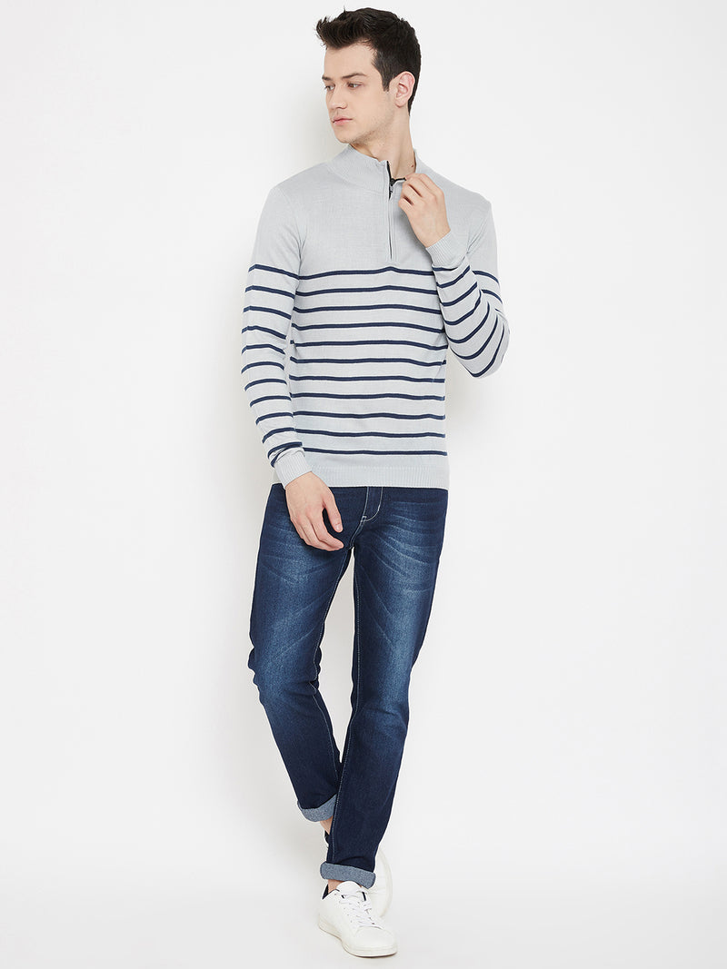 JUMP USA Men Grey Striped Mock Collar Casual Pullover