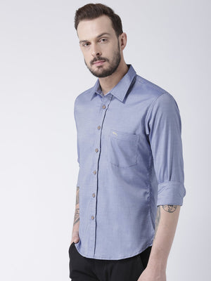 JUMP USA Men Blue Solid Cotton Slim Fit Shirt - Jump USA