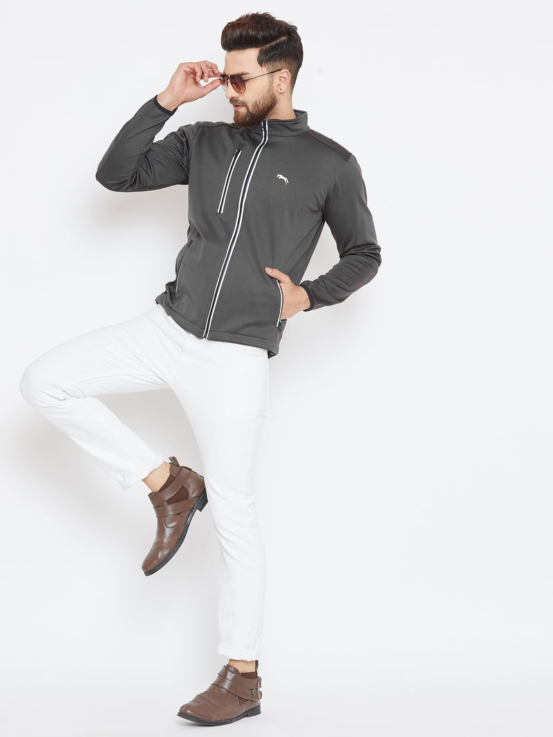 Men Charcoal Solid Sporty Jacket