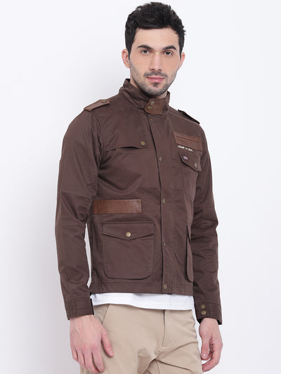 Men Casual Solid Brown Tailored Jacket - JUMP USA