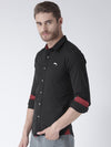 Men Black Solid Cotton Regular Fit Shirt - JUMP USA
