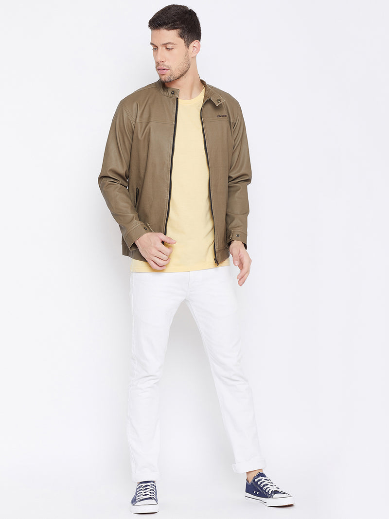 JUMP USA Men Khaki Casual Leather Jacket