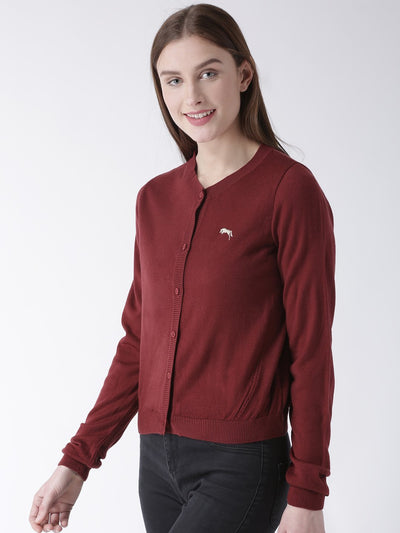 Women Cotton Casual Long Sleeve  Red Winter Sweaters - JUMP USA