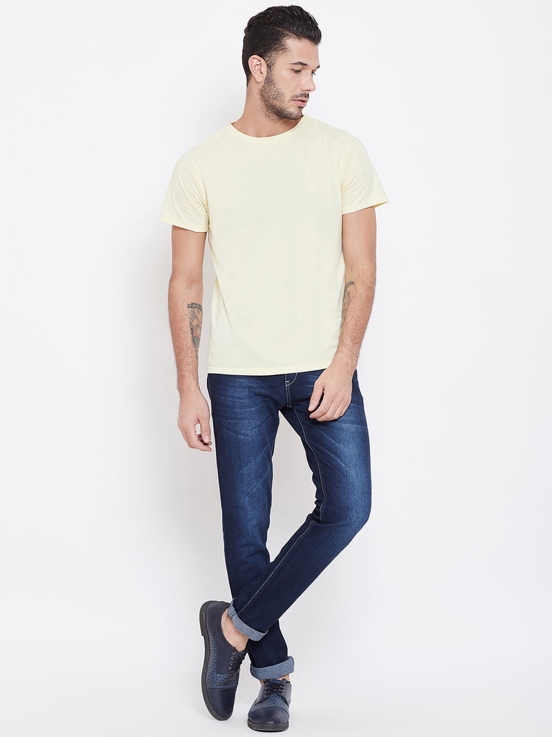 Men Beige Solid Round Neck T-shirt