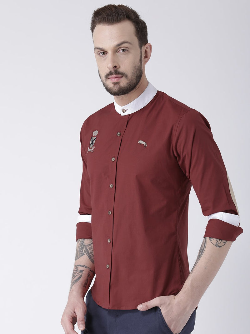 Men Red Solid Cotton Slim Fit Shirt