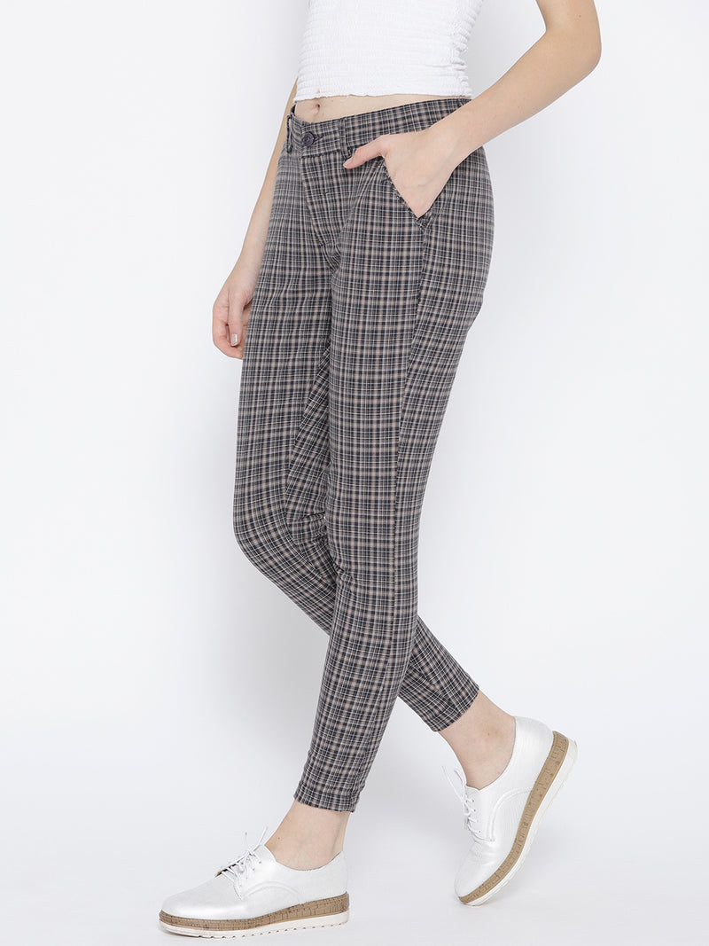 Women Grey Checked Regular Trousers - JUMP USA
