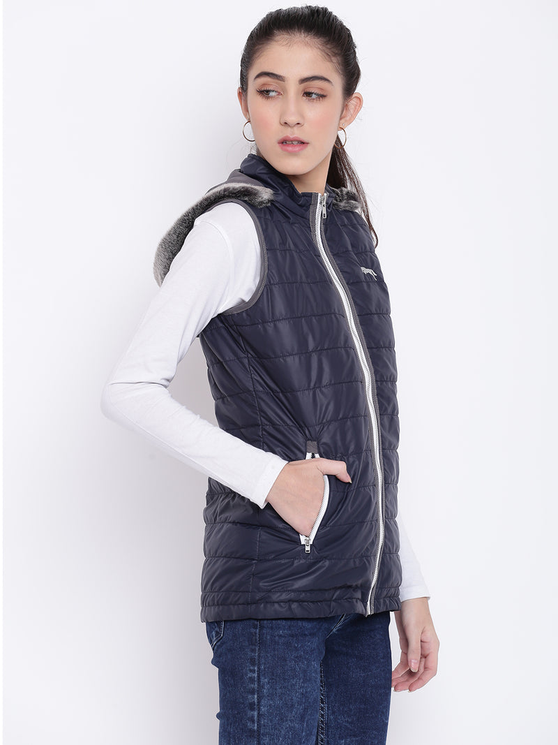 Women Navy Blue Casual Quilted Jacket - JUMP USA