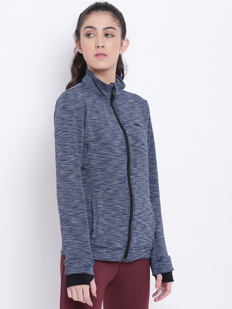 Women Navy Blue Sports Sporty Jacket