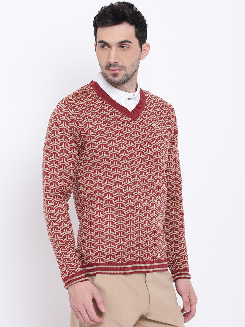 Men Casual Printed Red Sweaters