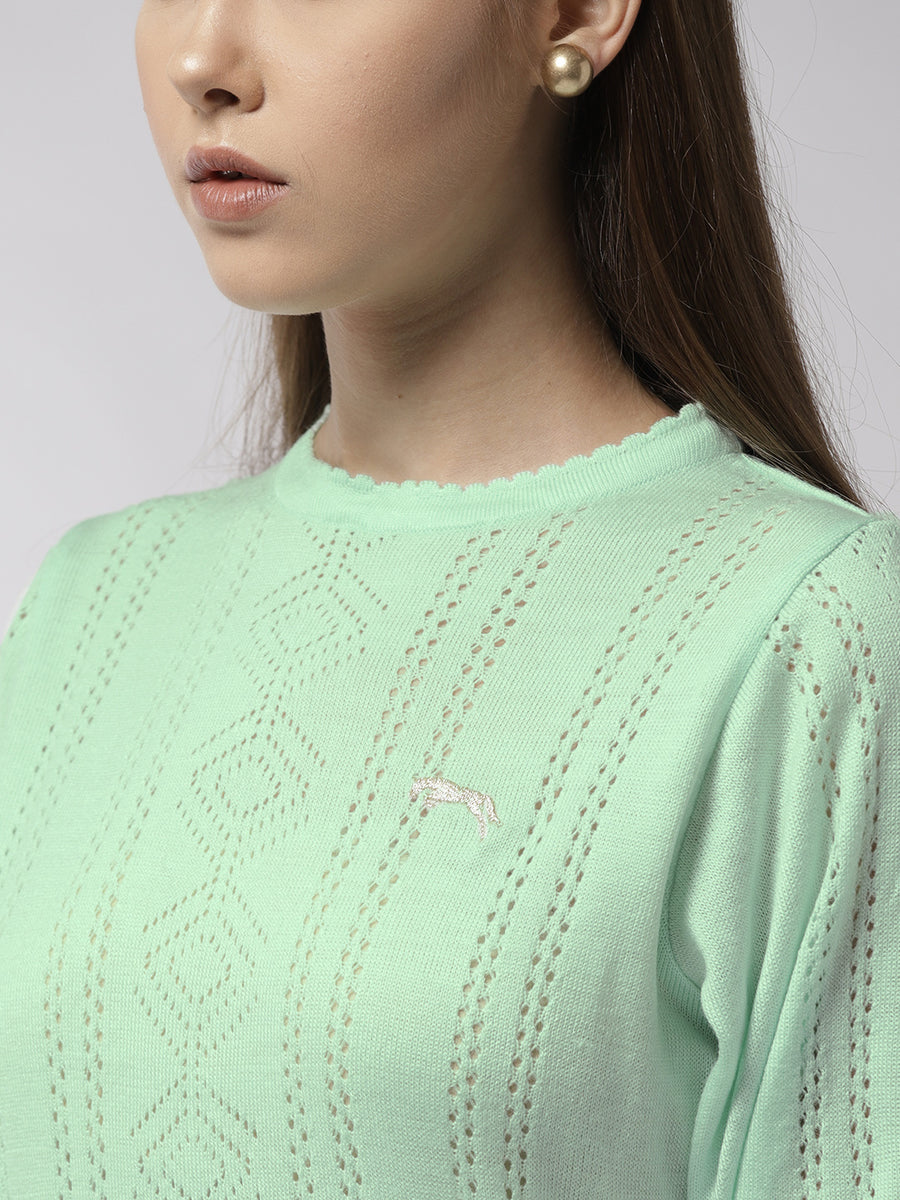 Women Solid Teal Pullover