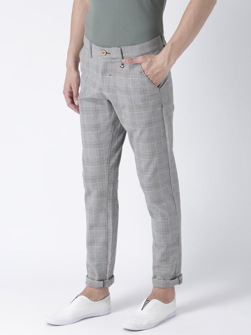 Men Grey Melange Slim Fit Checked Chinos - JUMP USA