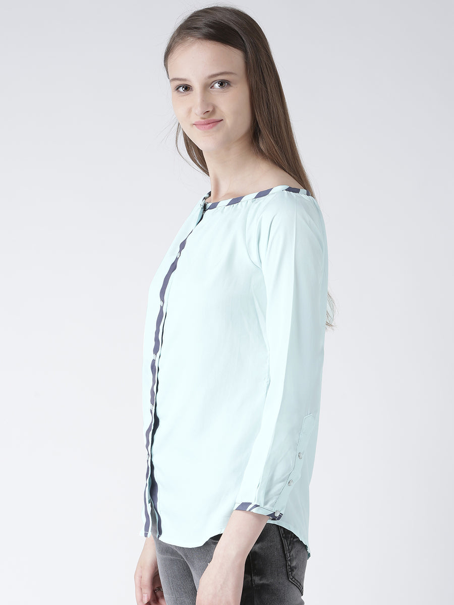 Women Blue Solid Polyester Top