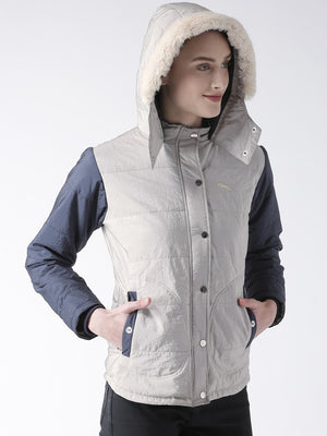 Women 's Polyster Casual Long Sleeve  Grey Winter Jacket - Jump USA