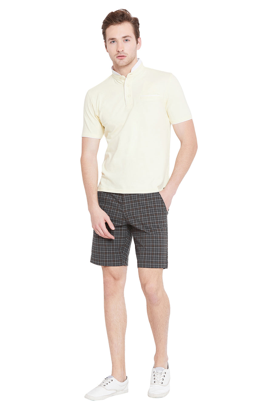 Men Grey Checked Casual Shorts