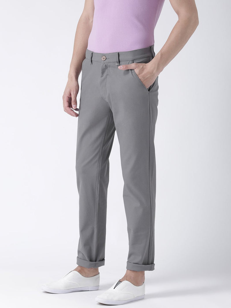 Men Steel Relaxed Fit Solid Chinos