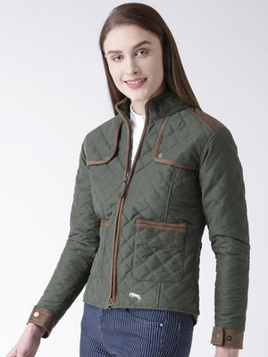 Women Polyster Casual Long Sleeve  Green Winter Jacket - Jump USA