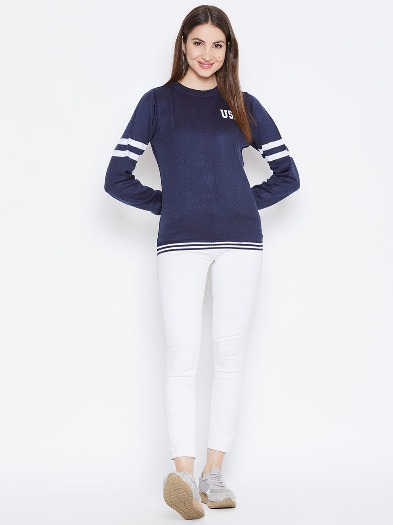 JUMP USA Women Navy Blue Solid Sweaters