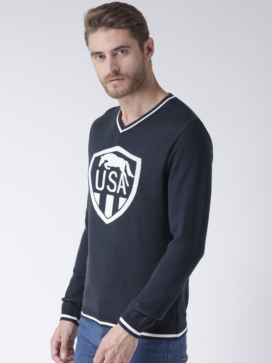 Men Navy Blue Solid Sweater - JUMP USA