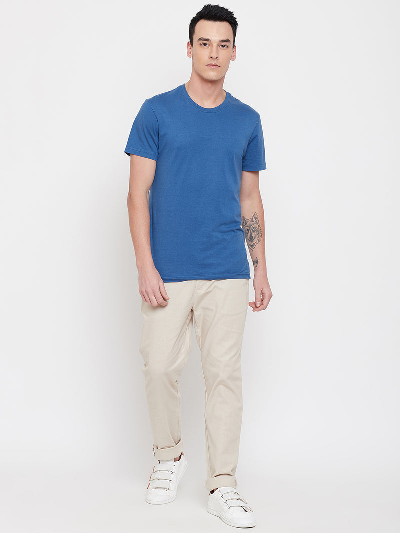 JUMP USA Men Cream Casual Slim Fit Trousers - JUMP USA