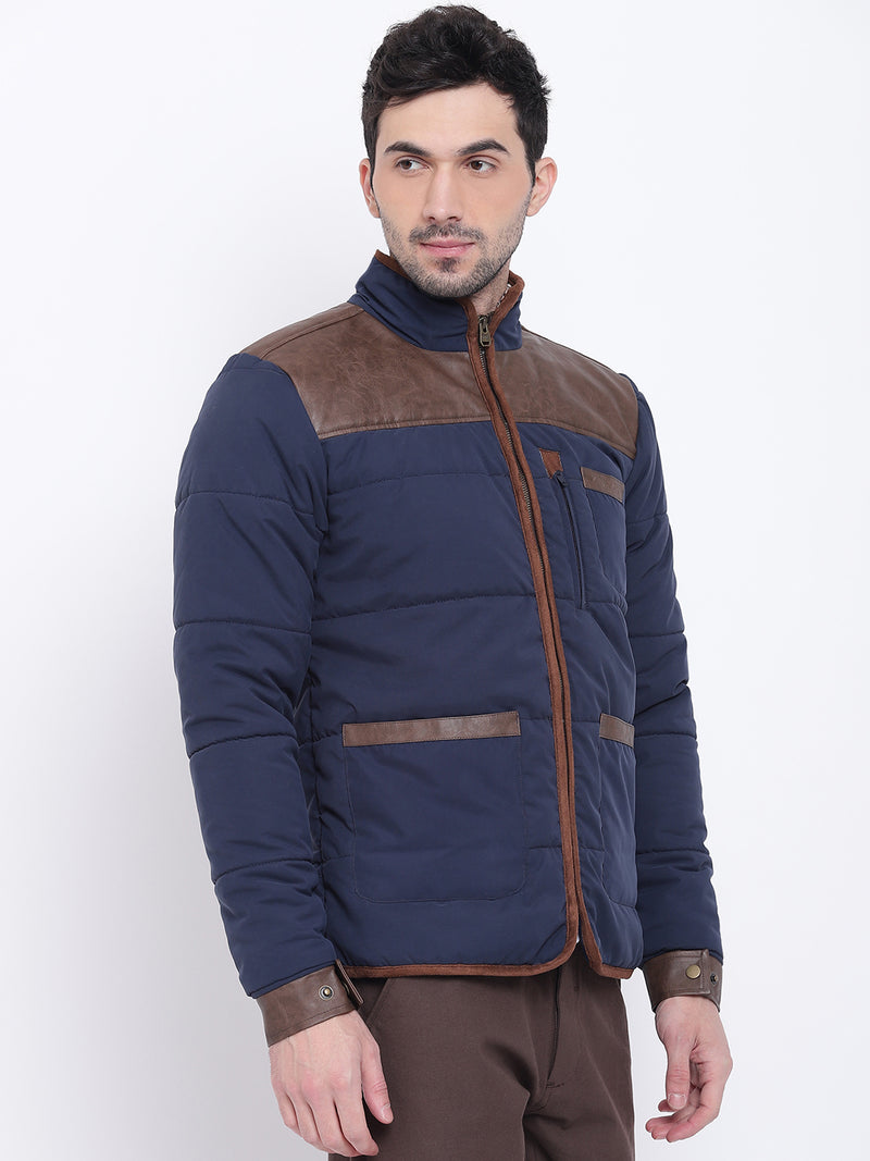 Men Casual Solid Blue Padded Jacket