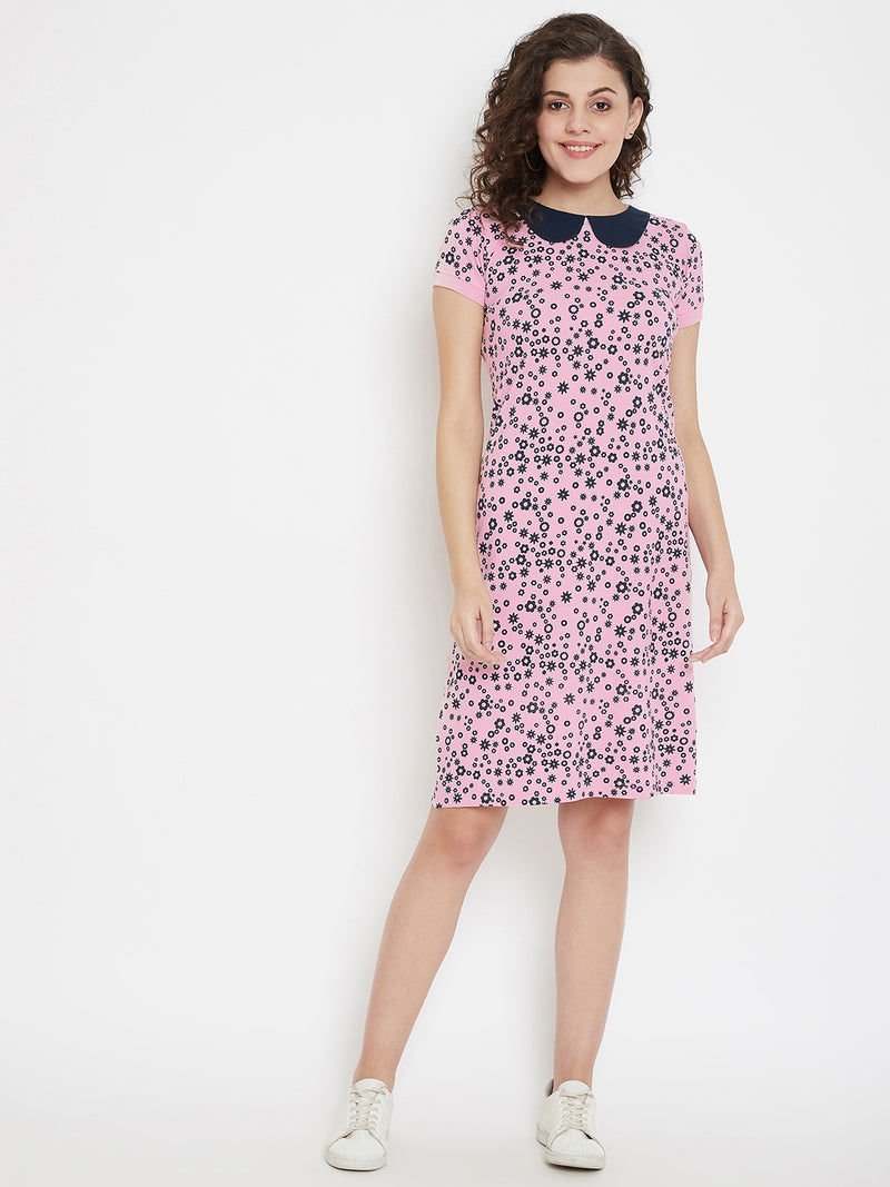JUMP USA Women Printed Pink A-Line Dress