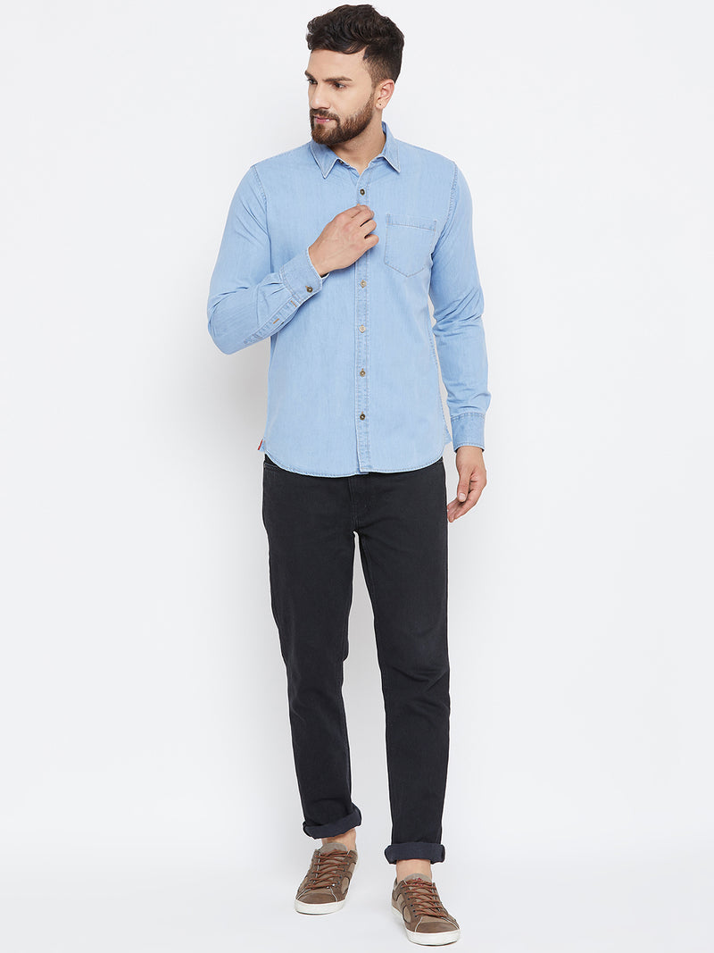 Men Blue Washed Regular Fit Casual Shirt - JUMP USA