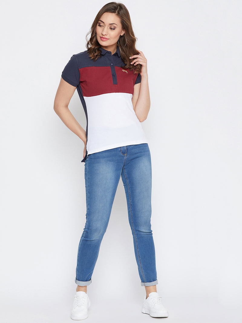 JUMP USA Women Navy Blue And Red Colour blocked PoloT-Shirts