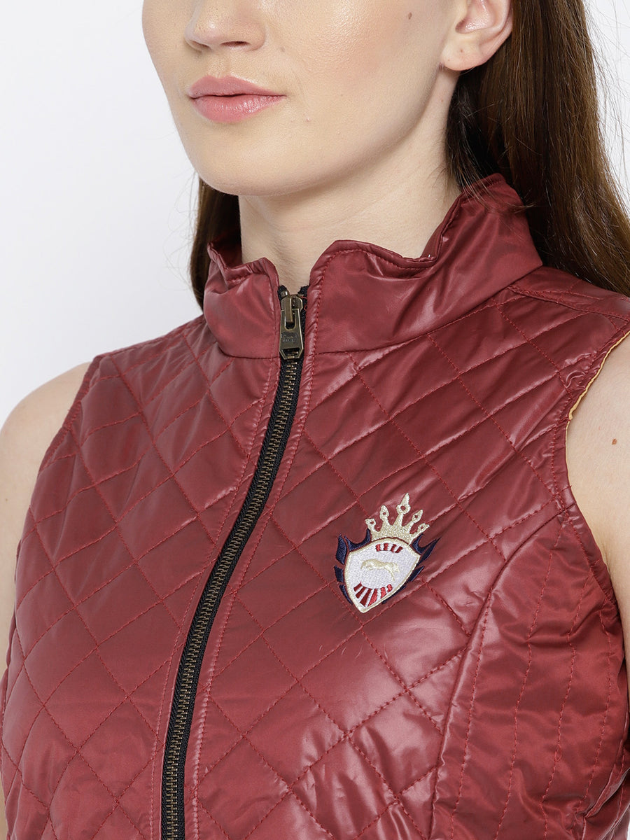 Women Red Quilted Jacket