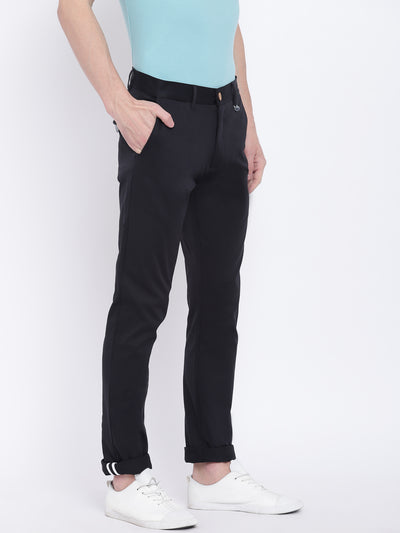 Men Casual Solid Black Chinos - JUMP USA