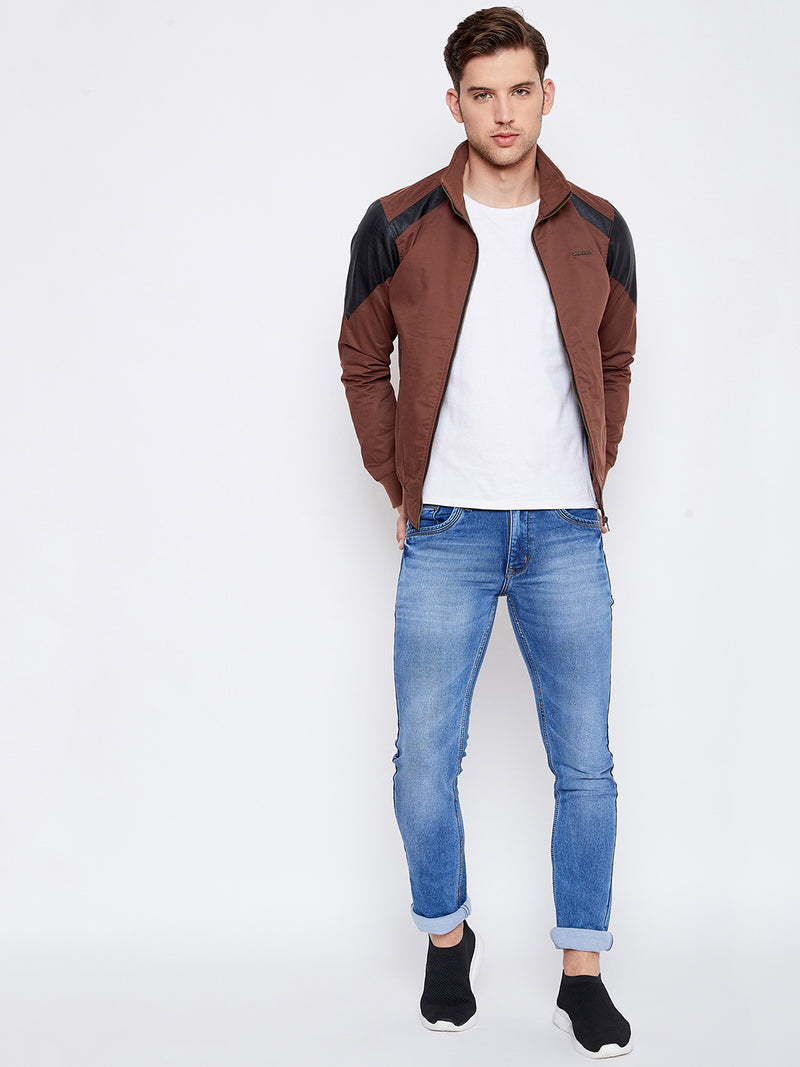 JUMP USA Men Brown Solid Casual Bomber Jacket
