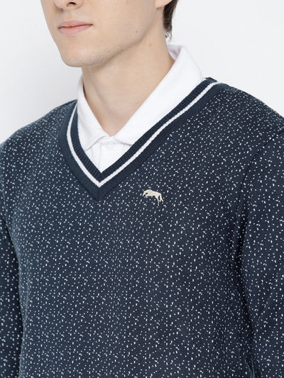 Men Navy Blue and White Colourblocked Pullover - JUMP USA