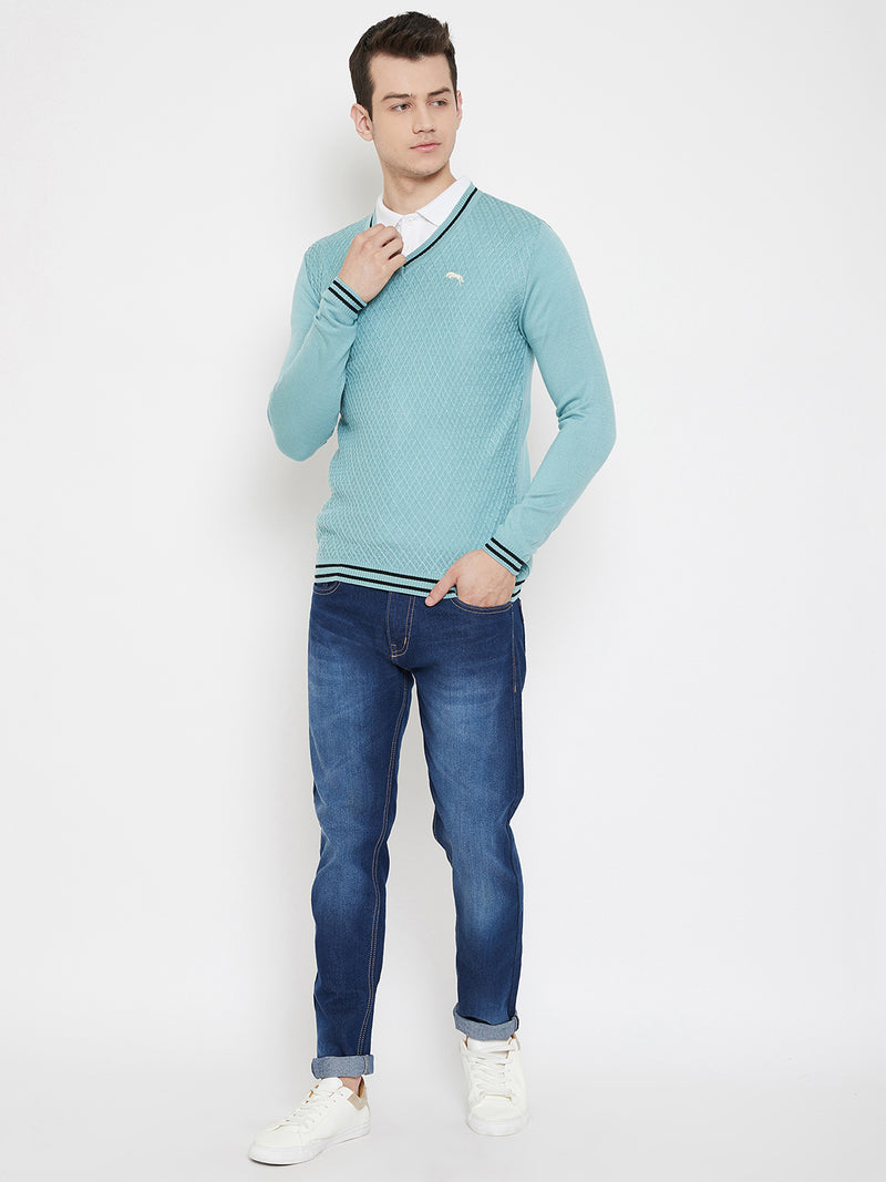 JUMP USA Men Blue Solid V-Neck Casual Pullover