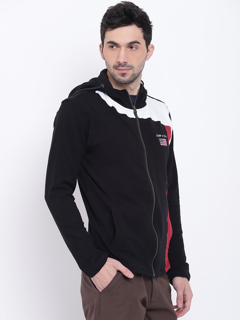 Men Casual Colourblocked Black Sweatshirt - JUMP USA