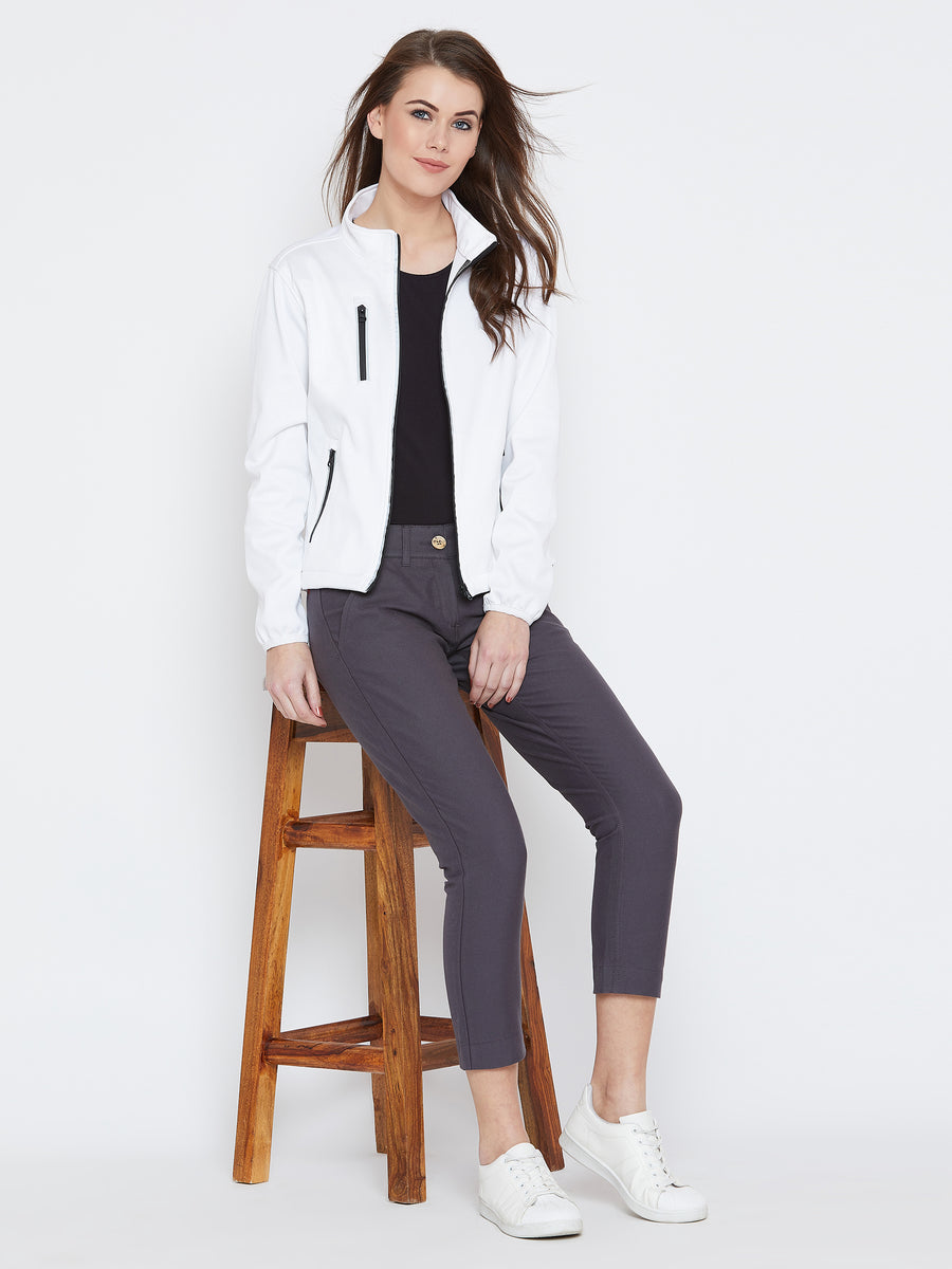 Women White Solid Sporty Jacket