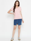 Women Pink Solid Casual V Neck T-shirt - JUMP USA
