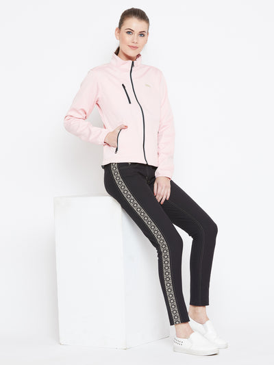 Women Pink Solid Sporty Jacket - JUMP USA