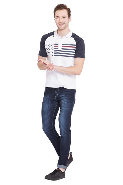 Men White Solid Casual Polo T-shirts - JUMP USA
