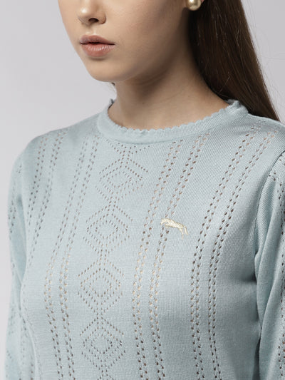 Women Solid Blue Pullover - JUMP USA